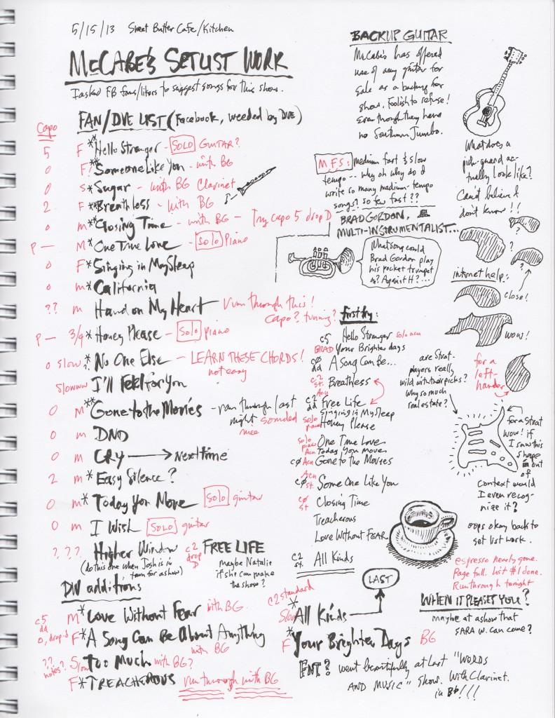 McCabe's Set List Worksheet